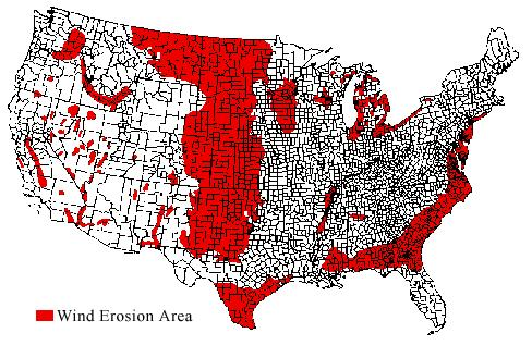 The Problem Of Wind Erosion - Agricultural areas us map