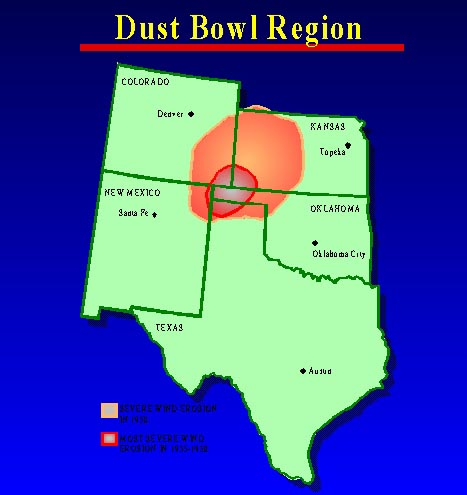 Dust Bowl Photographs Dust Bowl States Map on